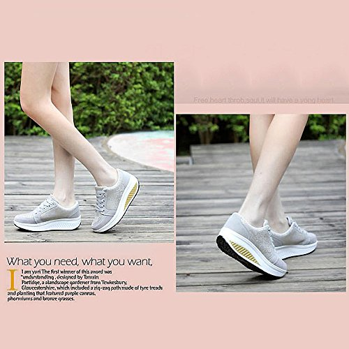 Donne Cunei Ginnastica Scarpe Dimagrante Piattaforma 2 amp; Scarpe Sneaker Scarpe QZBAOSHU Passeggio grigio Fitness dz4qwg46