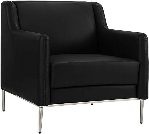 Amazon.com: Sillón moderno de piel para sala de estar, silla ...