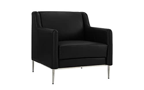 Modern Living Room Leather Armchair, Accent Chair Black