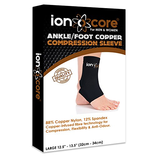 Copper compression ankle support sleeve for ankle, foot and arch support from ionocore®. Relief of plantar fasciitis, ankle pain, Achilles tendon pain & foot pain with open heel. Slimfit. (Large)
