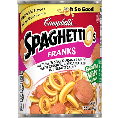 (Campbell's SpaghettiOs Canned Pasta,With Franks, 15.6 oz. Can (Pack of 12))