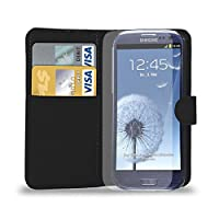 Samsung Galaxy S3 i9300 - Premium Leather Wallet Flip Case Cover Pouch + Long Touch Stylus Pen + Mini Touch Stylus Pen + Screen Protector & Polishing Cloth (Wallet Black)
