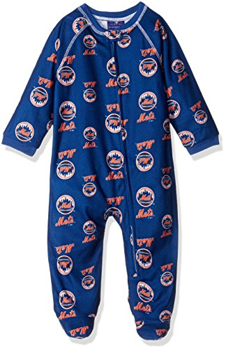 MLB Infant Mets Sleepwear All Over Print Zip Up Coverall, 18 Months, Deep Royal
