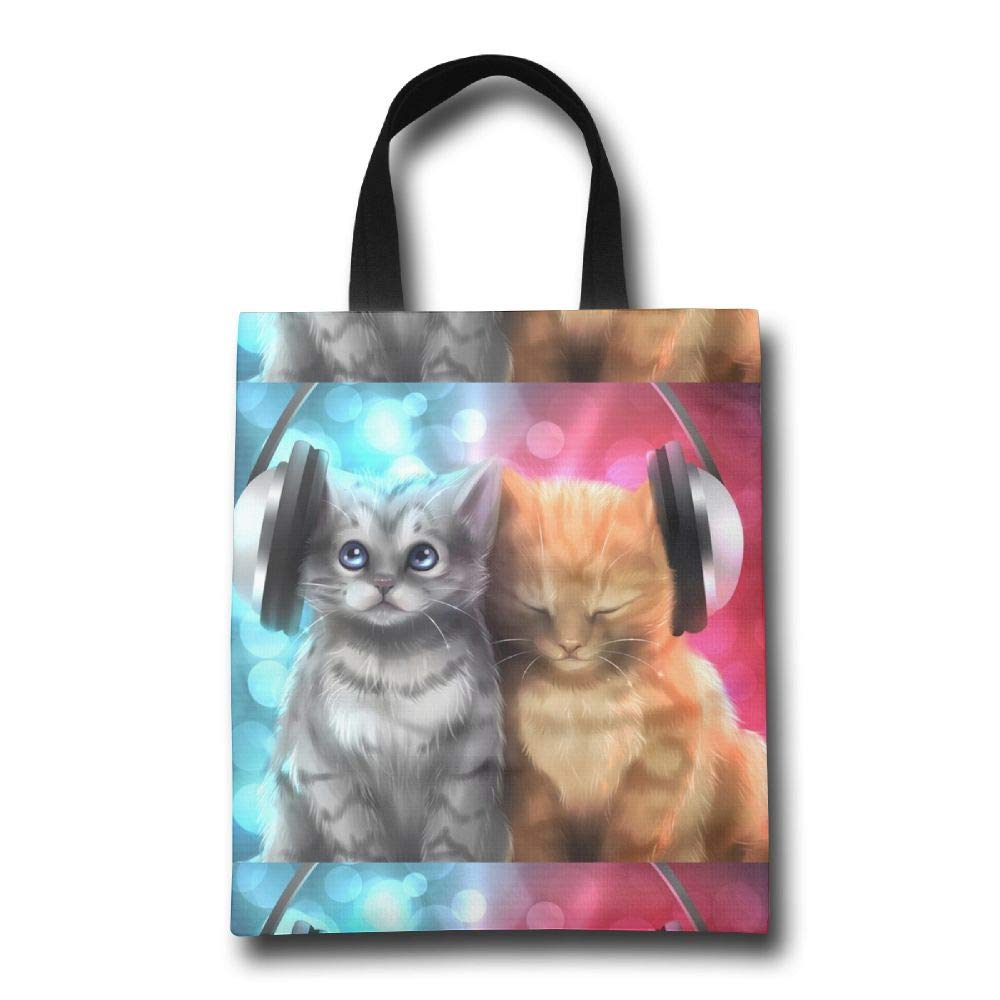 日本最大のブランド Lqzdqa Kitten Kitten Listening to Fashion Music Fashion 再利用可能なショッピングバッグ Lqzdqa エコフレンドリー 耐久性 B07GSNGCVV, ブランディング:fe61b36b --- by.specpricep.ru