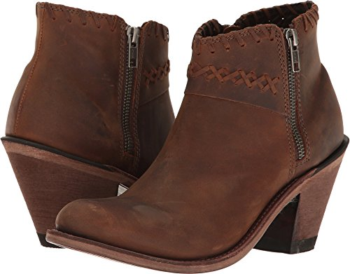 Old West Fashion Boots Women Side Zip Ankle Goodyear 8.5 M Brown 18150 (Front Lacing Ankle Boot)