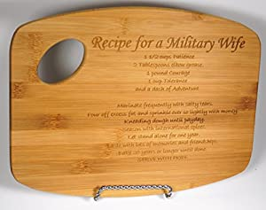 Recipe for a Military Wife Bamboo Cutting Board