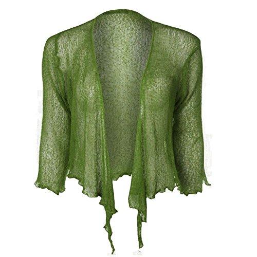 Janisramone doble tejido Bali tie, bolero recortado elástico, cárdigan Top caqui