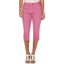 St. Johns Bay Secretly-Slender Cropped Pants Petite Size 16P Shocking Pink Print