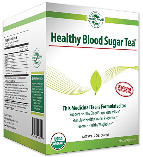 Healing Foods Company Organic Blood Sugar Support Tea – European Weight Loss Formula, Curb Appetite, Boost Metabolism – Non Gmo – Gluten-Free 30 Day Supply 5 ounces