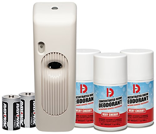 - Big D 855 Metered Aerosol Starter Kit, Very Cherry Fragrance (Contains Dispenser, 2 Batteries, 3 Aerosol Cans) - Air freshener ideal for restrooms, offices, schools, restaurants, hotels, stores