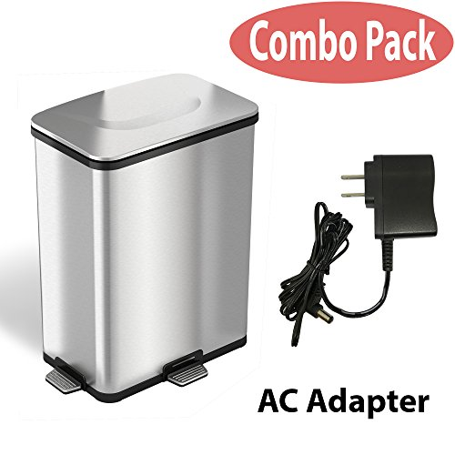 iTouchless AutoStep PRO Automatic Step Trash Can with Odor Control System and AC Adapter, Stainless Steel, 13 Gallon