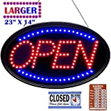 """LED Open Sign Business Board, 23""""x14"""" Larger & Brighter Electric Advertising Lighting Up Board, UL Adapter, Flashing & Steady Mode for Holiday, Business, Window, Bar, Hotel, Motel"""