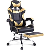 ALFORDSON Computer Gaming Chair with Massage Lumbar Cushion and Footrest Swivel Recliner Leather Ergonomic Home…