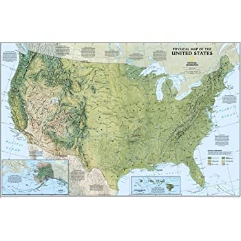 United States Physical Map Poster 36 x 24in