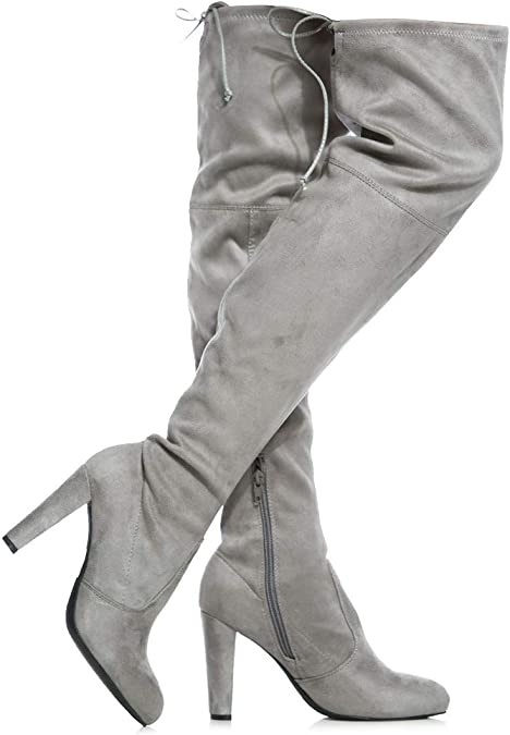 Womens Haley Over The Knee Pull On Boot Drawstring Back Comfort Block Chunky Heel Pointy Round Toe