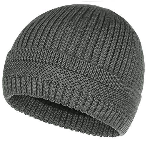 OMECHY Winter Warm Knit Beanie Hats Cuff Plain Toboggan Skull Ski Cap Grey