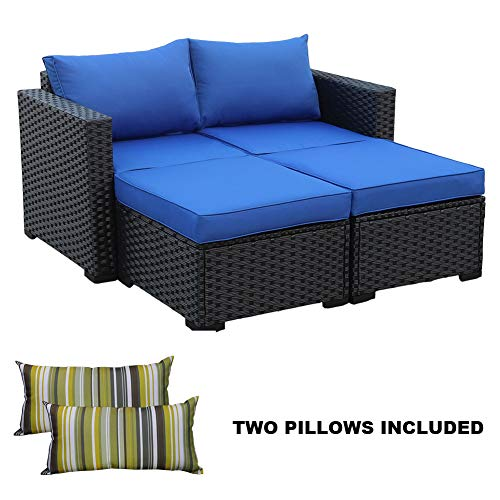 (3-Piece Patio Rattan Wicker Conversation Sofa Set,Outdoor Rattan Sectional Loveseat and Ottoman Furniture Set, Royal Blue Cushion/Black Wicker)