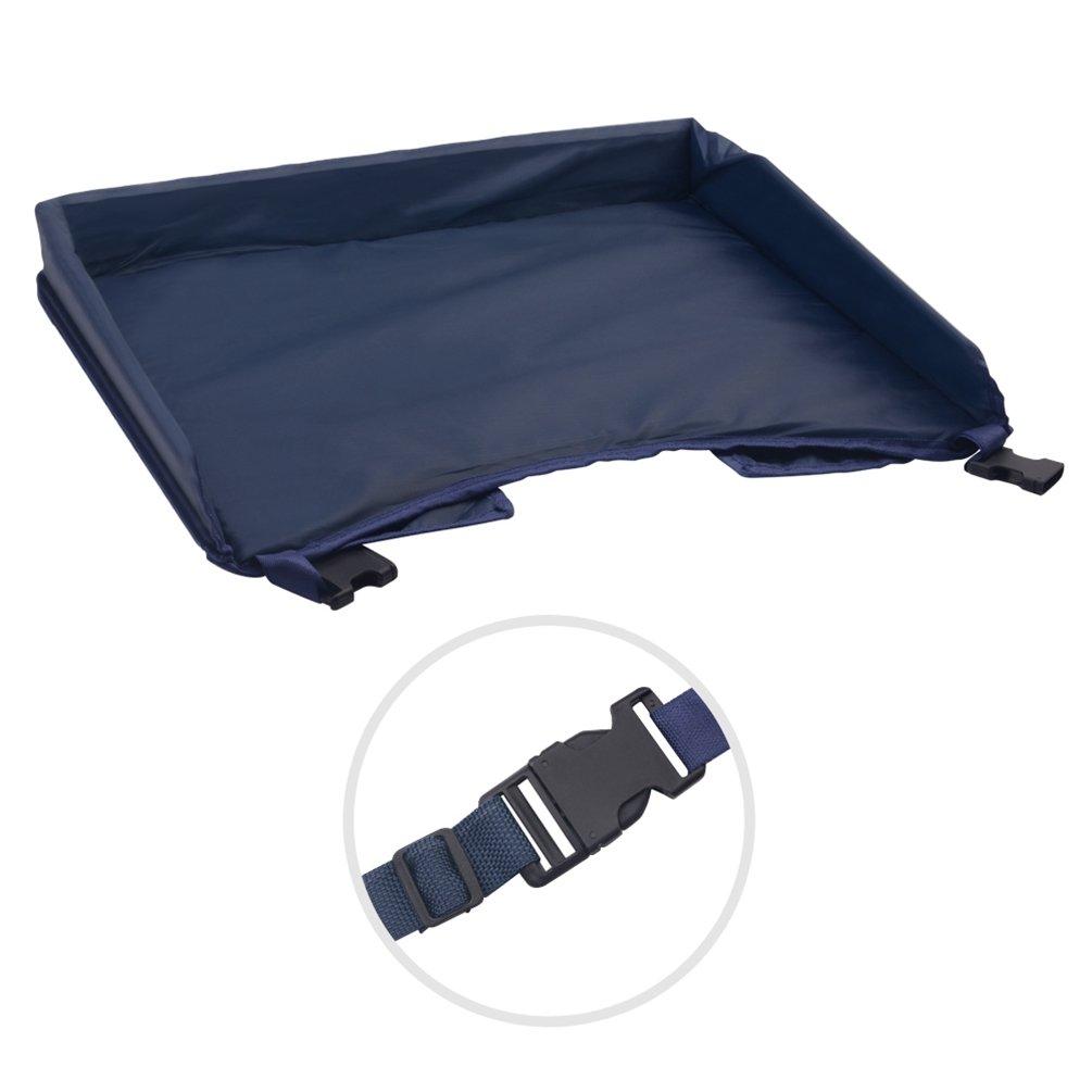 NuoYo Bandeja de Viaje Waterproof Plegable para Comer y Jugar en un Asiento de Coche el Color es Azul.