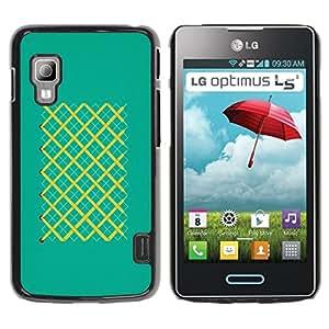 KOKO CASE / LG Optimus L5 II Dual E455 E460 / patrón de rayas patrón partidos turquesa / Delgado Negro Plástico caso cubierta Shell Armor Funda Case Cover