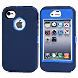 MOONCASE iPhone 4S Case, 3 Layers Heavy Duty Defender Hybrid Soft TPU +PC Bumper Triple Shockproof Drop Resistance Protective Case Cover for Apple iPhone 4 4S -Navy Blue