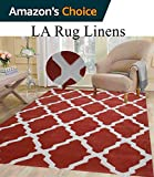 Colorful White Orange Rust Modern Contemporary Abstract Decorative Designer Hand Tufted 8x10 Bedroom Living Room Indoor Outdoor Rug Throw .5 Inch Thin Pile Height ( Vintage V-009 Orange )