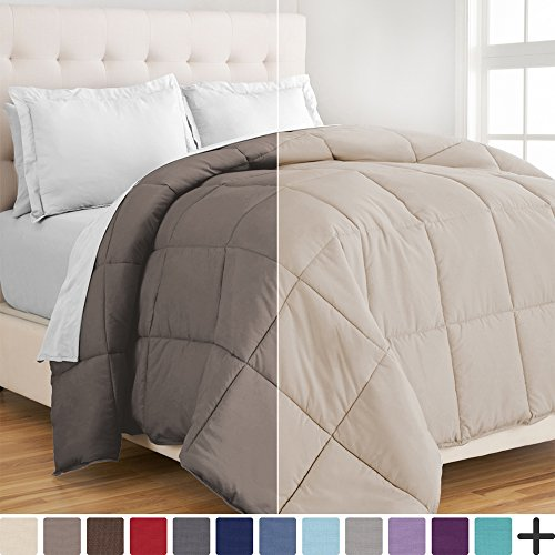 Ultra-Soft Premium 1800 Series Goose downwards different relatively easy to fix Comforter - Hypoallergenic - All Season - Plush Fiberfill (King/Cal King, Taupe/Sand)