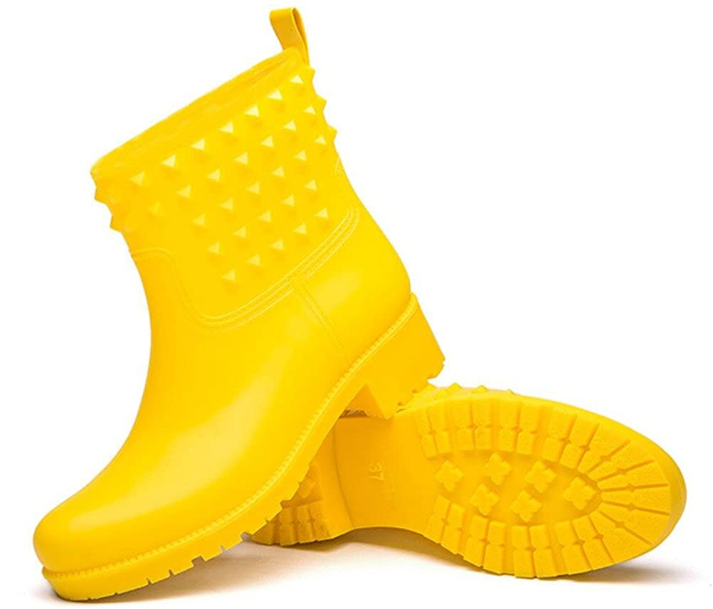 ACE SHOCK Rain Footwear Women Mid-Calf Casual Waterproof Shoes Fashion Rain Boots Antiskid