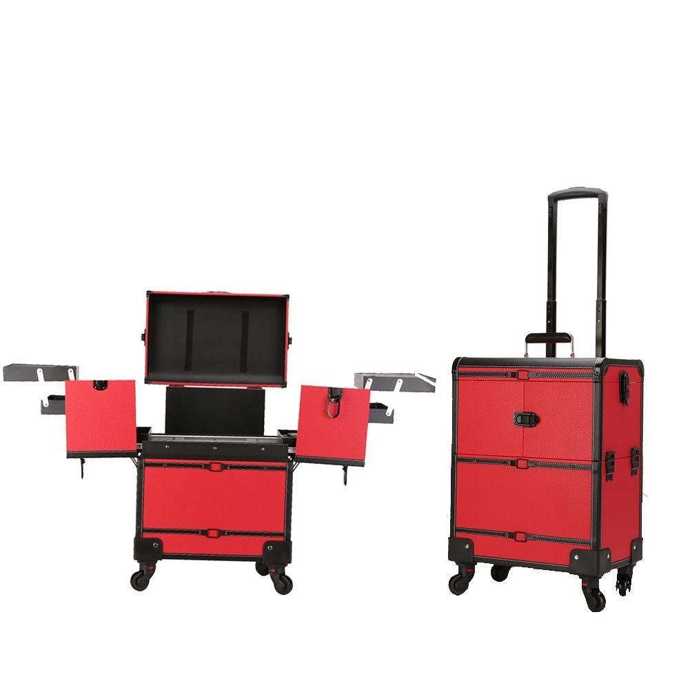 GracefulvarRed Trolley Large Capacity Cosmetic Case
