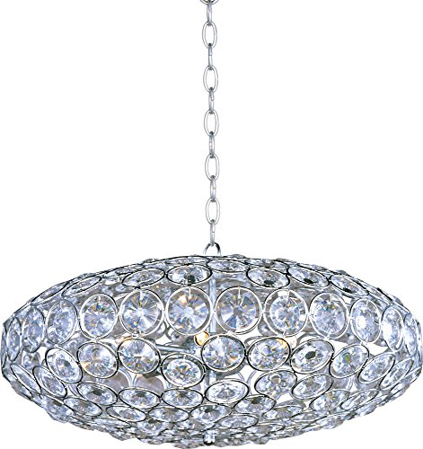 - ET2 E24012-20PC Brilliant 8-Light Single Pendant, Polished Chrome Finish, Crystal Glass, G9 Xenon Bulb, 4.8W Max., Dry Safety Rated, 2900K Color Temp., Low-Voltage Electronic Dimmer, Glass Shade Material, 2250 Rated Lumens