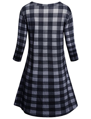 Tunic Black Womens 4 Sleeve Scoop Dress Plaid Cestyle 3 Neck Plaid 4Tx0qaAa