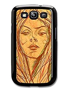 AMAF ? Accessories Girl Brown Drawing Original Art Illustration case for Samsung Galaxy S3
