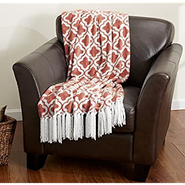Keller Collection Ultra Velvet Plush Super Soft Blanket. Lightweight Throw Blanket in Beautiful Printed Patterns Featuring a Decorative Fringe. By Home Fashion Designs. (Coral)