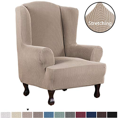 H.VERSAILTEX 1 Piece Super Stretch Stylish Furniture Cover/Wingback Chair Cover Slipcover Spandex Jacquard Checked Pattern, Super Soft Slipcover Machine Washable/Skid Resistance (Wing Chair, Sand)