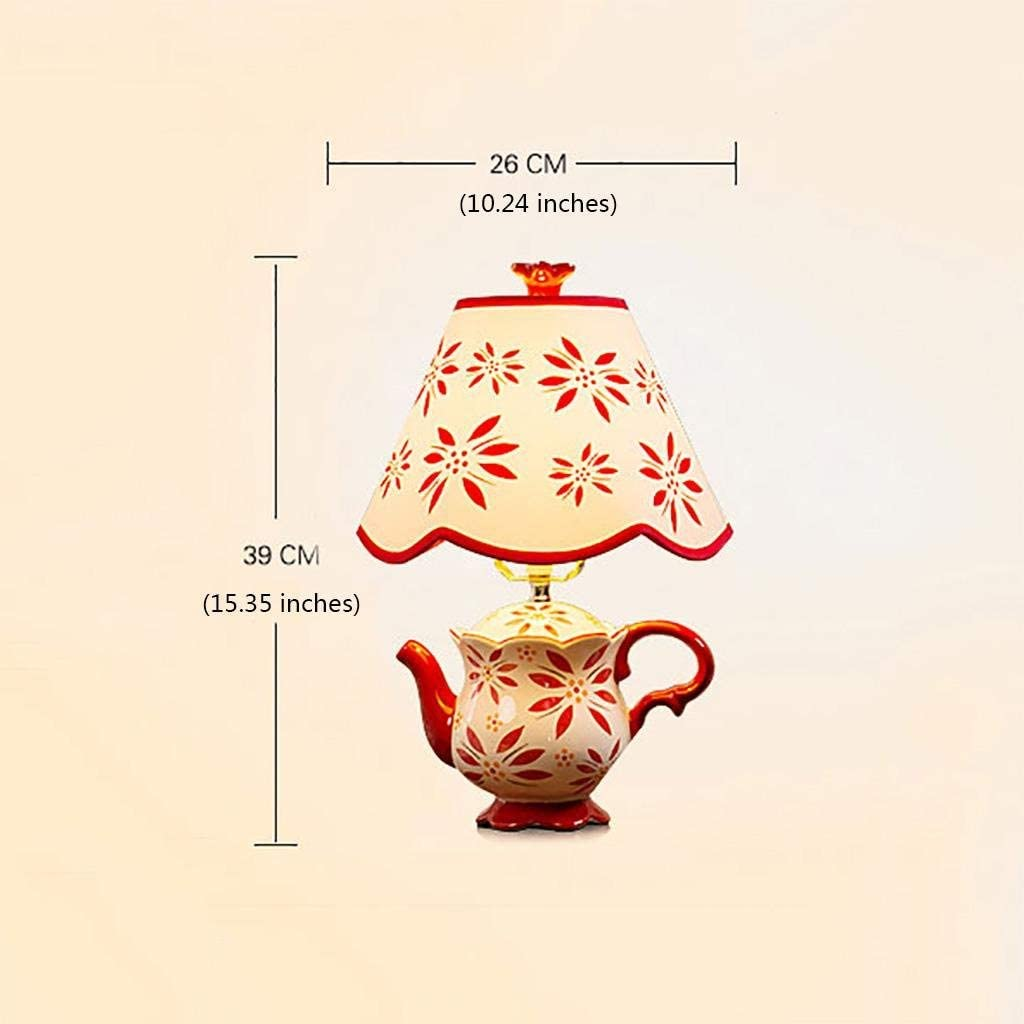 CCLAY Creative Ceramic Table Lamp Teapot Shape with Fabric Shade for Bedroom Living Room Decoration, Blue/Black/Green/Color/red Color