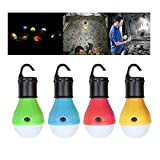 Finlon Portable Outdoor Hanging Tent Light Bulb for Camping, Backpacking, Hiking, Emergency Lighting, Battery Powered Outdoor Lights [4 Packs]