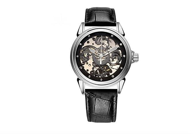timelyo® Reloj para Hombre Mujer automático Pulsera Piel Replica Luxe Mecanique Negra: Amazon.es: Relojes