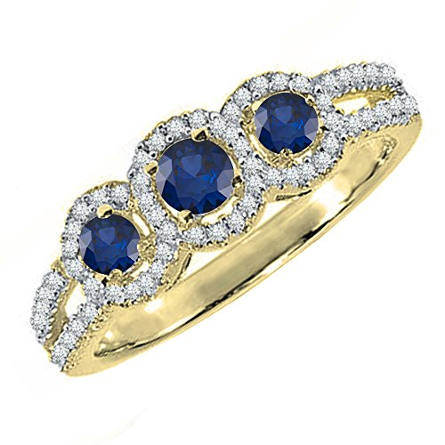 Dazzlingrock Collection 10K Round Blue Sapphire & White Diamond Ladies Engagement Ring, Yellow Gold, Size 10