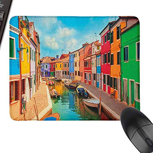 Laptop Mouse Pad Venice Colorful Buildings and Water Canal with Boats Burano Island in The Venetian Lagoon for Office, Gaming, Learning,9.8