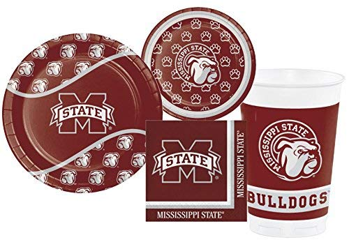 (Mississippi State University Bulldogs Party Supply Pack! Bundle Includes Plates, Napkins, Cups for 8 Guests )