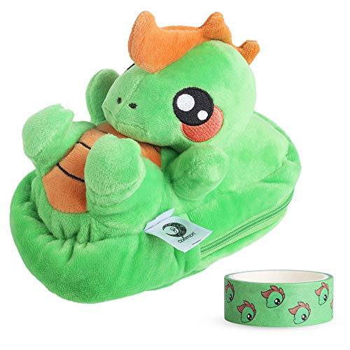 Corimori 1845 Plush Pencil Case, Makeup Pouch Boys/Girls, Byte The Dinosaur (Green) ()
