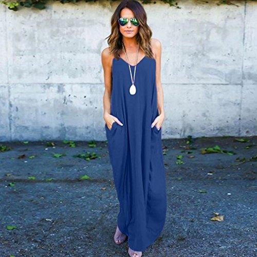 Minetom Mujer Verano Largo Vestido Cabestro Vestidos Sin Mangas Playa Casual Vestido De Fiesta De Graduación Azul marino2