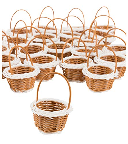 - Mini Baskets- 24-Pack Miniature Woven Baskets with Handles, Mini Round Baskets, Small Country Baskets, for Parties, Gardens, Home Decoration, White Edge and Bottom Design, 2.4 x 2.5 x 3.25 Inches