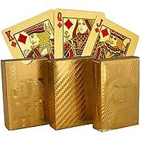BREEZEE MARKET Baraja Inglesa Dorada, Color Elegante Poker Naipes Impermeables, Cubiertas Laminadas En Oro 24 Quilates…