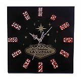 Las Vegas Black Dice Clock Gambling Poker Clock Man Cave Accessory Wall Clock