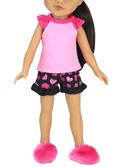 ac7a4feec1 Sophia s 14 Inch Doll Pajamas Complete Black   Pink Heart PJ Top and  Bottoms Plus Slippers