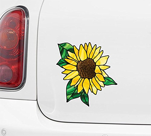 Sunflower D2 - Stained Glass Style Vinyl Decal for Cars | Trucks | Gas Cap | Outdoor Use Copyright © Yadda-Yadda Design Co. (Size Choices Available) (MEDIUM 5.5