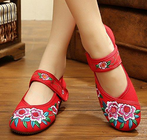Icegrey Zapatos Planos Bordados Florales De La Bailarina de Mary Jane Oxford De Las Mujeres Rojo