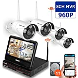 SMONET [All-in-One&Expandable System] Security Camera System Wireless, 8CH 960P Video Security System with 1TB HDD,4pcs 960P Bullet IP Cameras,Built-in 10.1 inches Monitor,P2P,Super Night Vision