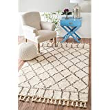 nuLOOM Handmade Soft and Plush Lattice Trellis Wool Natural Shag Rug (4  x 6 )