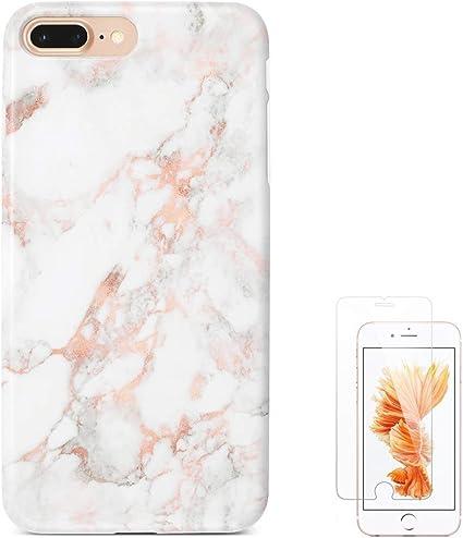 Amazon Com Ucolor Rose Gold Marble Case Compatible With Iphone 8 Plus 7 Plus 5 5 6s Plus 6 Plus Soft Tpu Dual Layer Protective Cover Compatible For Iphone 7 Plus 8 Plus 6s Plus 6 Plus